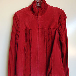 NWT Coldwater Creek Red Suede Sweater Jacket Med